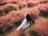 Pretty Chinese girl rotating in Pink hairawn muhly flower field, with black long hair in wind, aerial view.