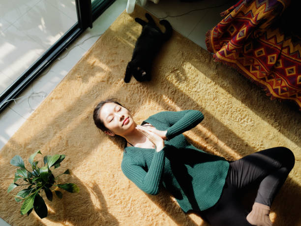 Pretty Chinese young woman meditating at home, lying on floor with her black cat in sun light, exercise, Lotus pose, prayer position, namaste, working out, Feeling peace and wellness concept. stock photo