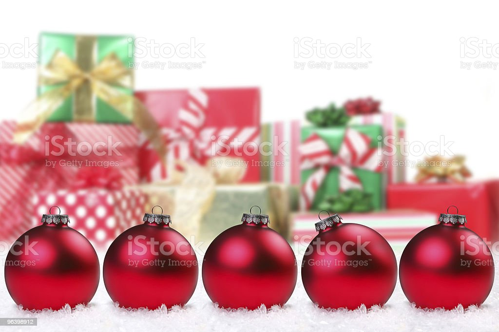 Pretty Christmas Bulbs and Gifts - Royalty-free Celebration Stock Photo