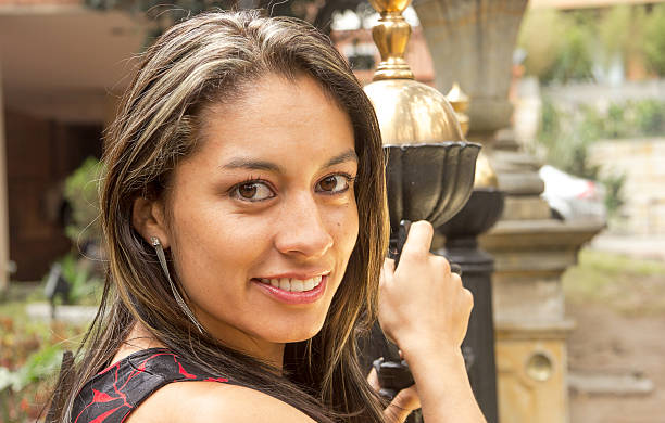 Pretty Colombian woman stock photo