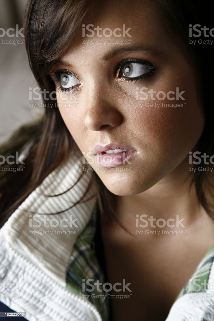 Pretty Concerned Girl With Big Green Eyes royalty-free stock photo