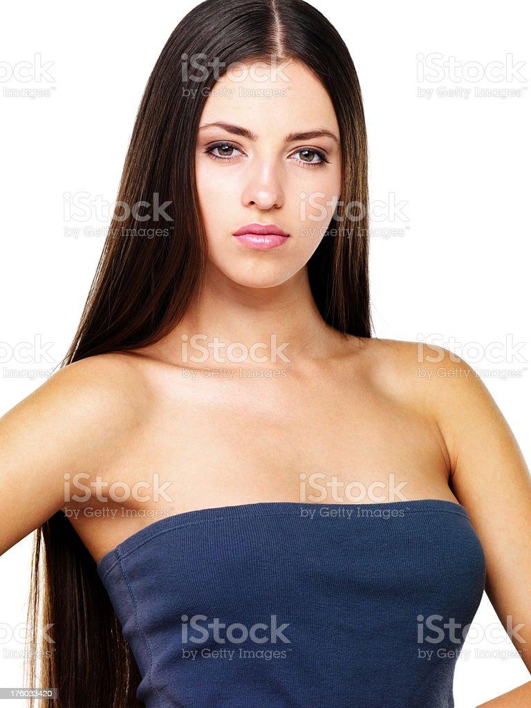 Pretty confident long hair female stock photo