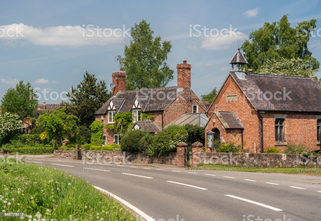 Pretty cottage and church in Burlton Shropshire - Royalty-free Ancient Stock Photo