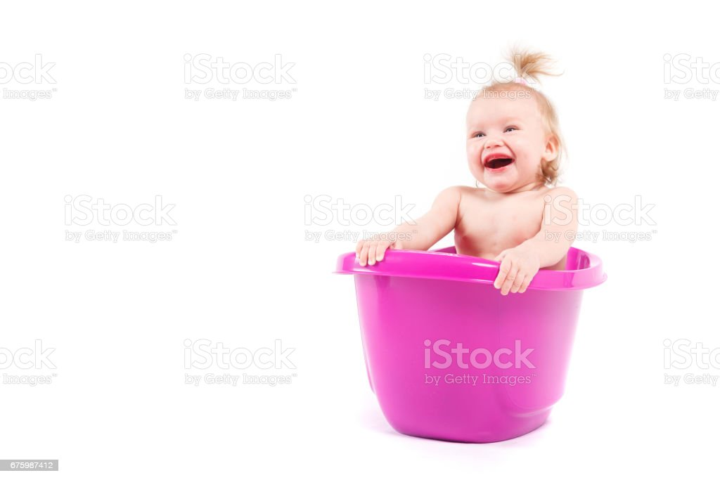 Pretty Cute Baby Girl Take Bath In Tub Stock Photo & More Pictures ...