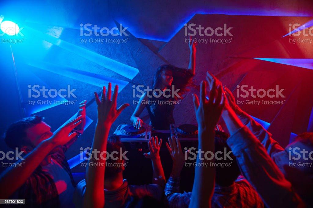 Pretty deejay stock photo