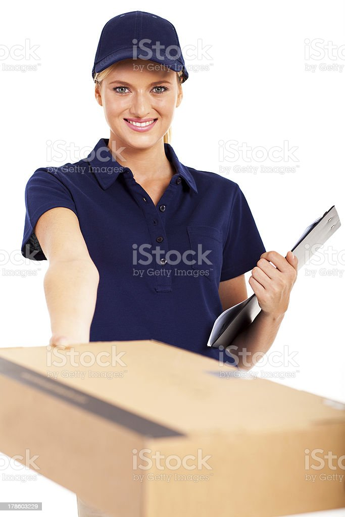 pretty delivery woman delivering a parcel stock photo