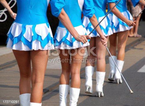 pretty drum majorettes at a festival