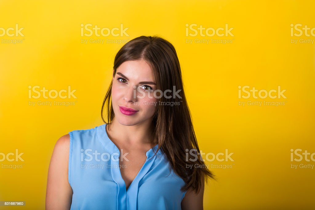 Pretty emotional woman stock photo