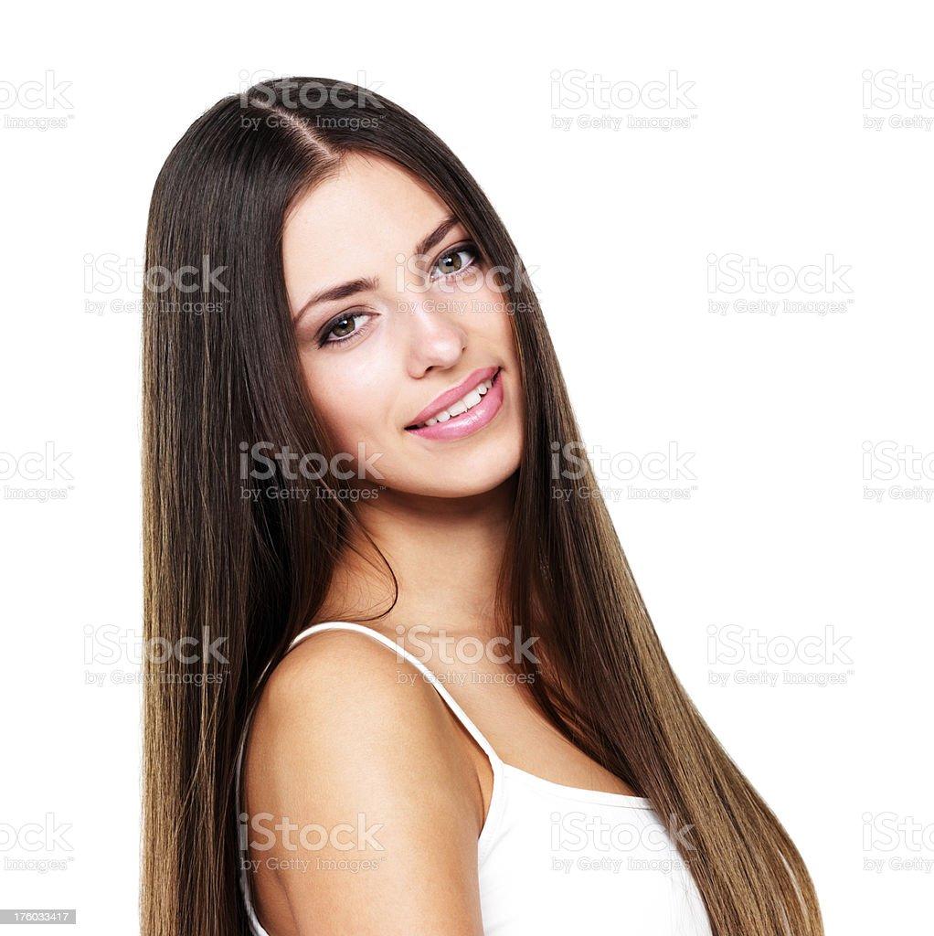 Pretty female giving a smile stock photo