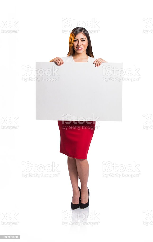 Pretty female professional worker holding blank sign - foto de stock