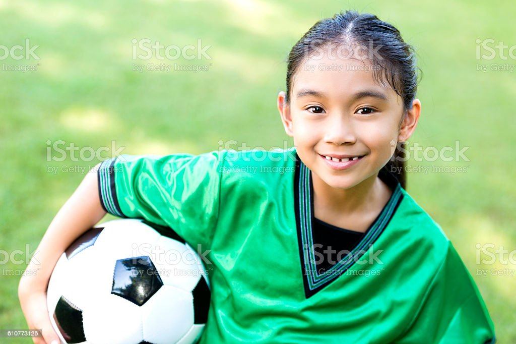 Pretty female soccer athlete after game stock photo