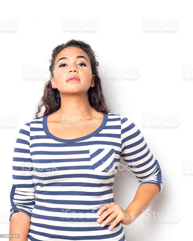 Pretty Female With Curly Wavy Hair stock photo