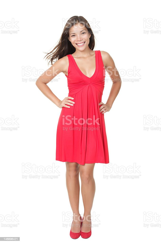 Pretty female with long dark hair and wearing a red dress royalty-free stock photo