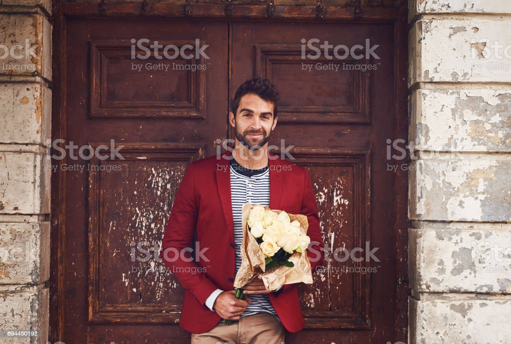 Pretty flowers to go with the jacket stock photo