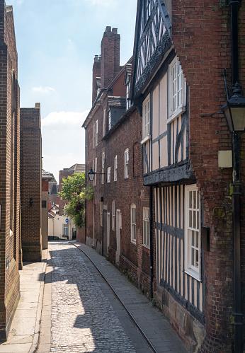 Mooie Georgische Street En Huizen In Shrewsbury Stockfoto en meer beelden van Antiek - Toestand