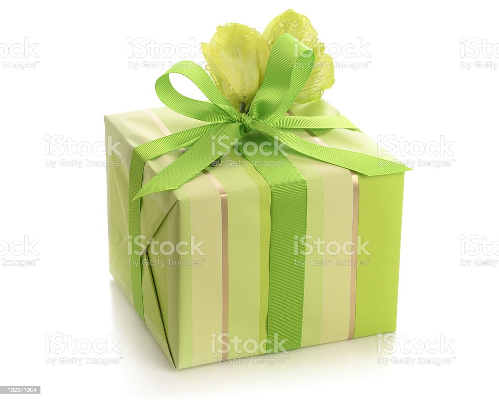 Pretty gift wrapped box tied with green ribbon stock photo pretty gift wrapped box tied with green ribbon royalty free stock photo negle Images
