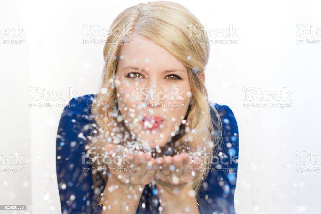 Pretty girl and glitter stock photo