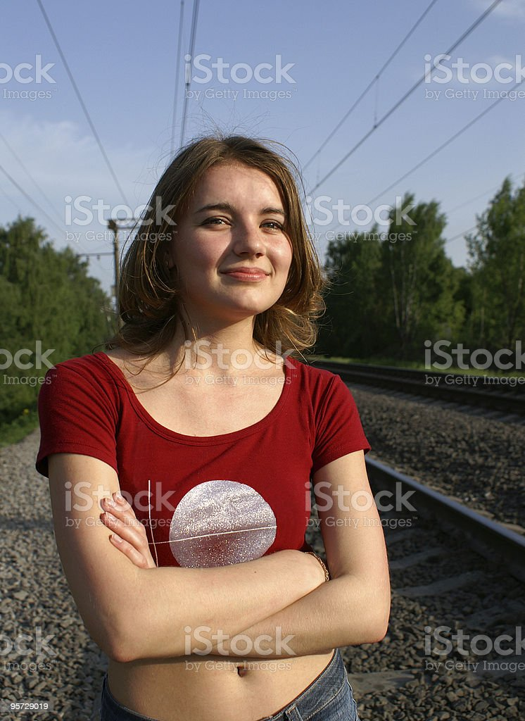 Pretty girl and railways royalty-free stock photo