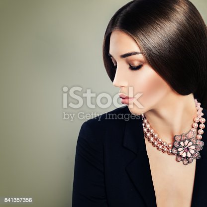 Pretty Girl Fashion Model with Makeup and Pearls Necklaces, Portrait