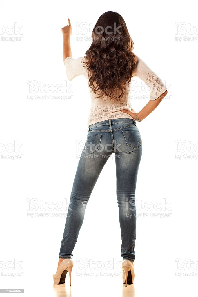 pretty girl from behind stock photo