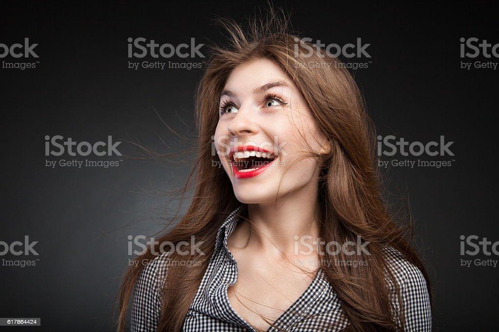 Pretty girl got shocked. stock photo