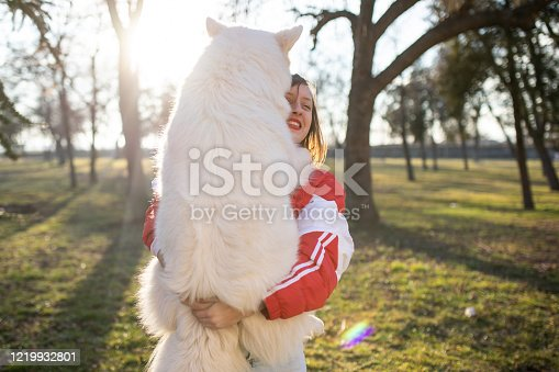 A pretty girl is holding a white Belgian Shepherd in her arms smiling in a park