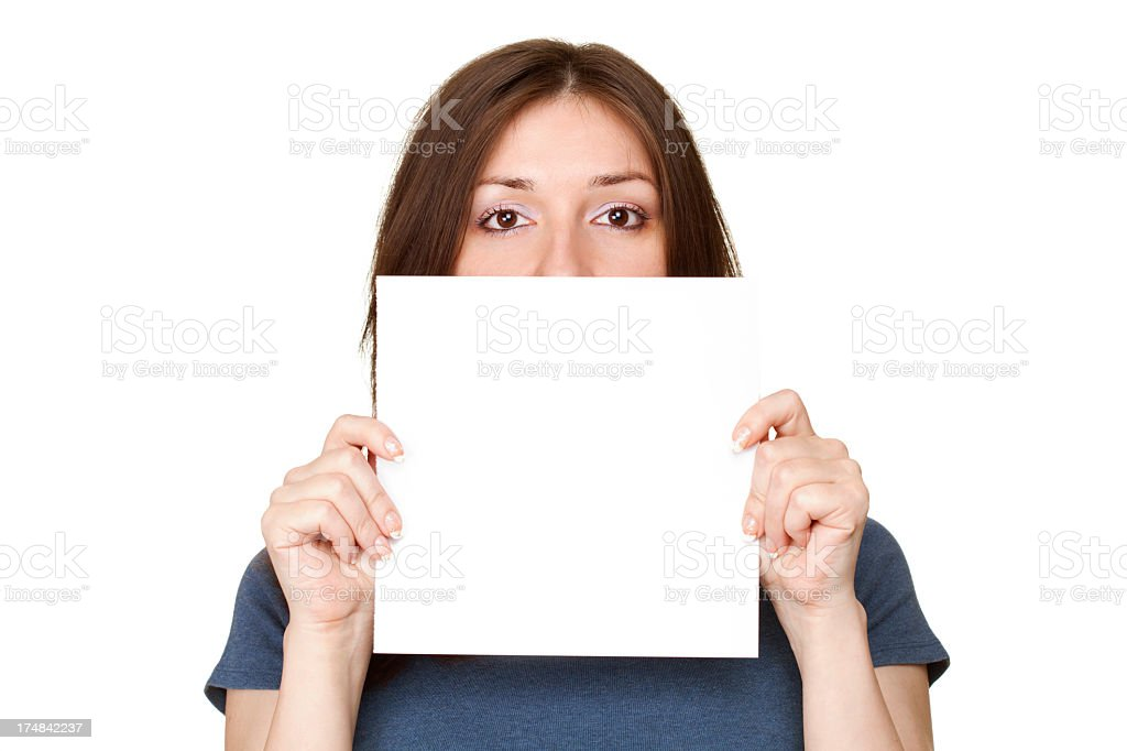 Pretty girl holding a sheet of paper royalty-free stock photo