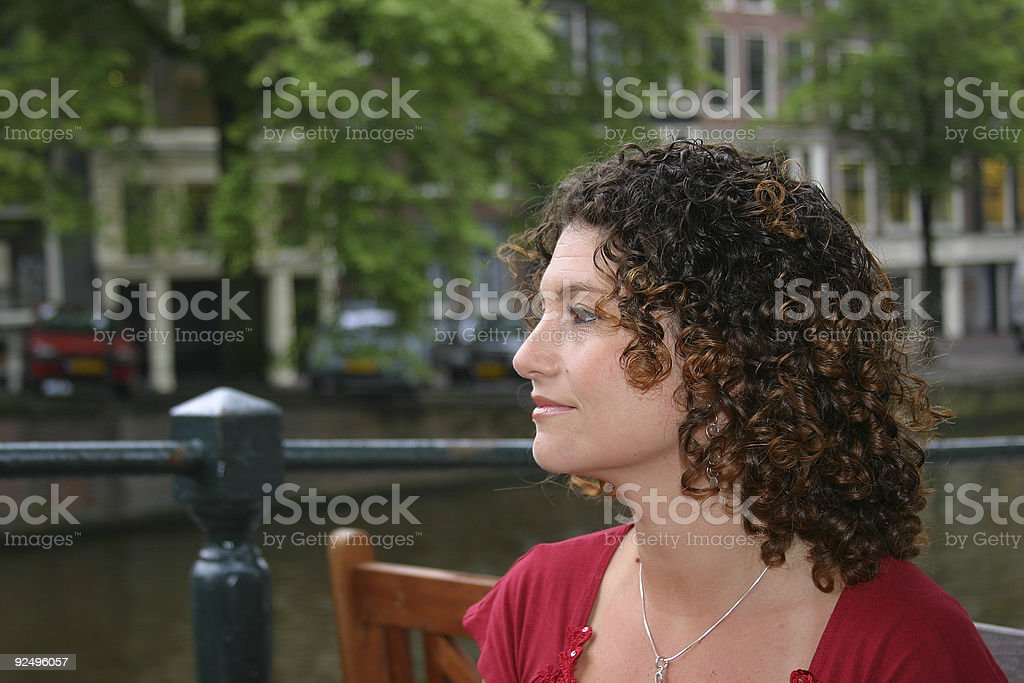Pretty girl in amsterdam royalty-free stock photo