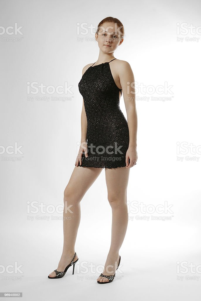 Pretty girl in coctail dress royalty-free stock photo