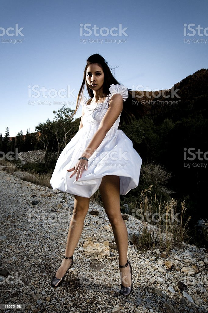 Pretty Girl in the Mountains royalty-free stock photo