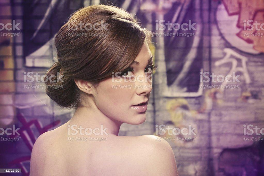 Pretty Girl Looking Back At Camera royalty-free stock photo