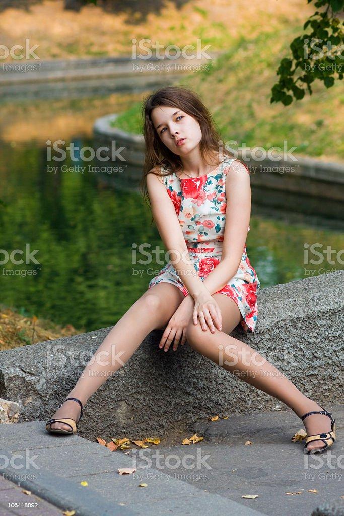 Pretty girl near the canal stock photo