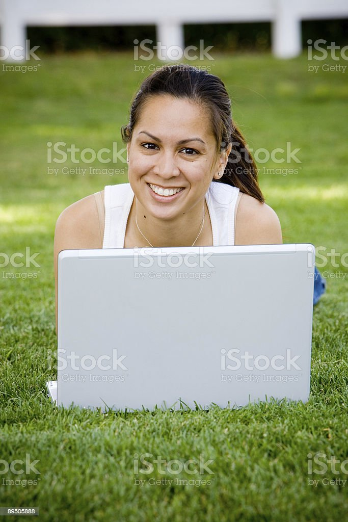 Pretty Girl on Laptop royalty-free stock photo