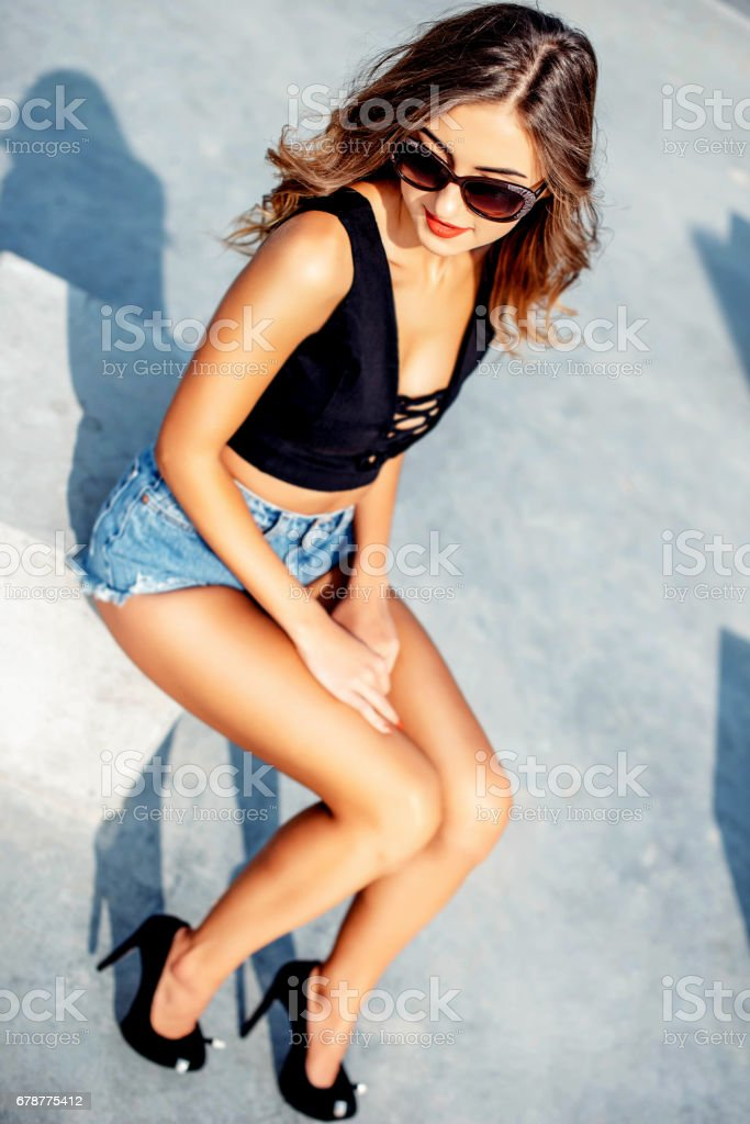 Pretty girl relaxing outdoor royalty-free stock photo