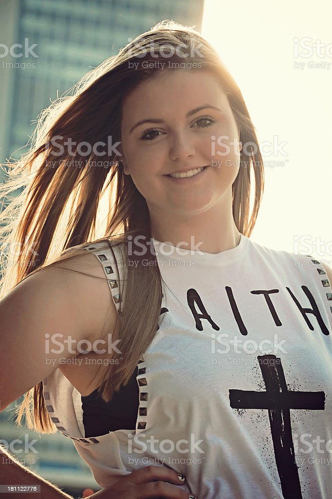 Pretty Girl Sun Flare royalty-free stock photo