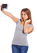 istock Pretty girl takes pictures Selfie 465135742