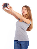 istock Pretty girl takes pictures Selfie 465135972