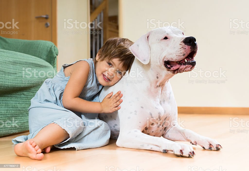 Pretty girl toddler on the floor with dog stock photo