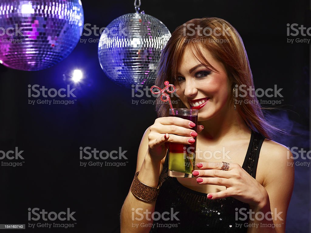 Pretty girl with a drink stock photo