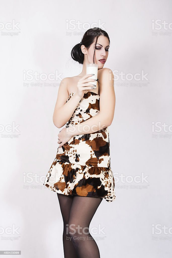 pretty girl with a glass of milk royalty-free stock photo