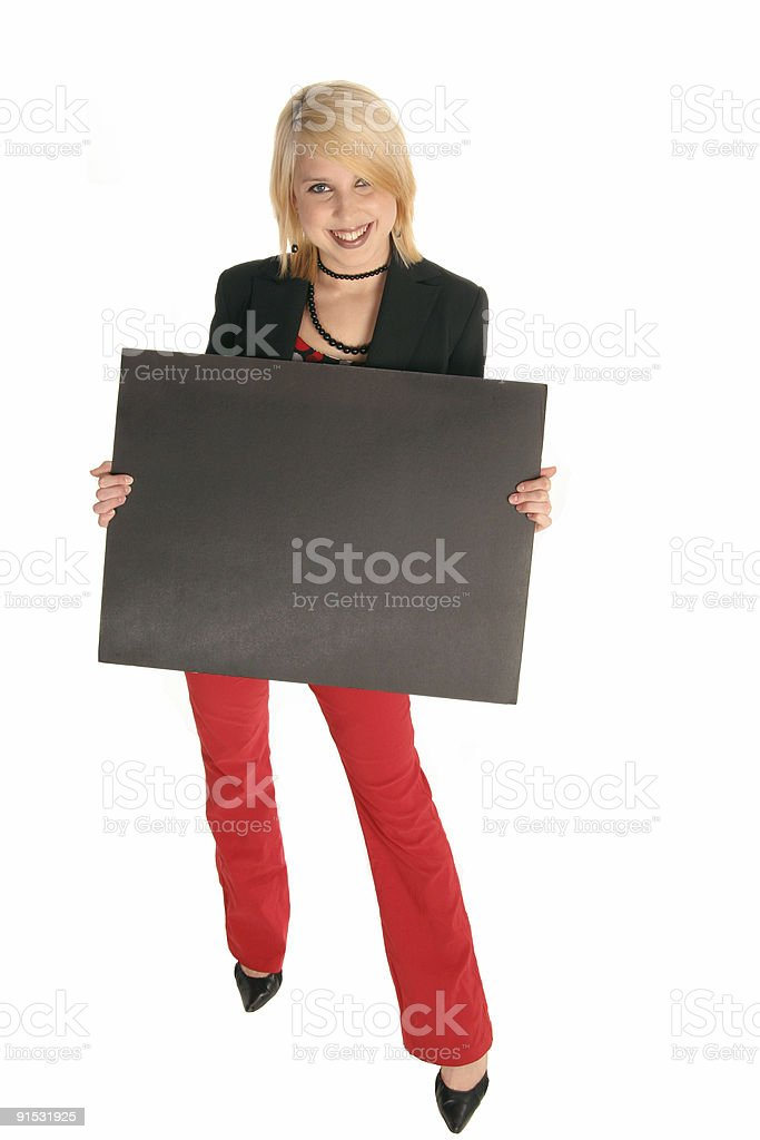 pretty girl with black sign board royalty-free stock photo