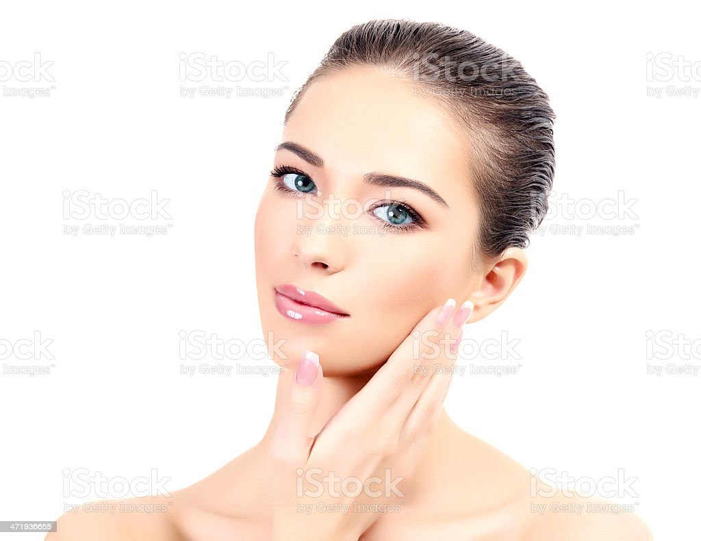 Pretty girl with clear fresh skin stock photo