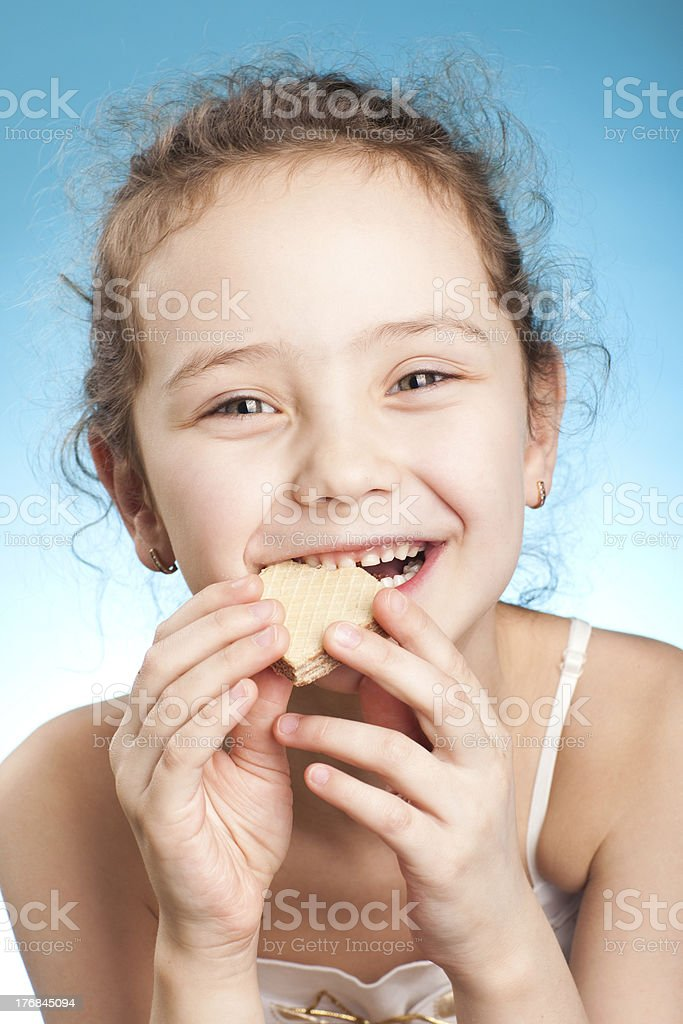 pretty girl with cookie stock photo