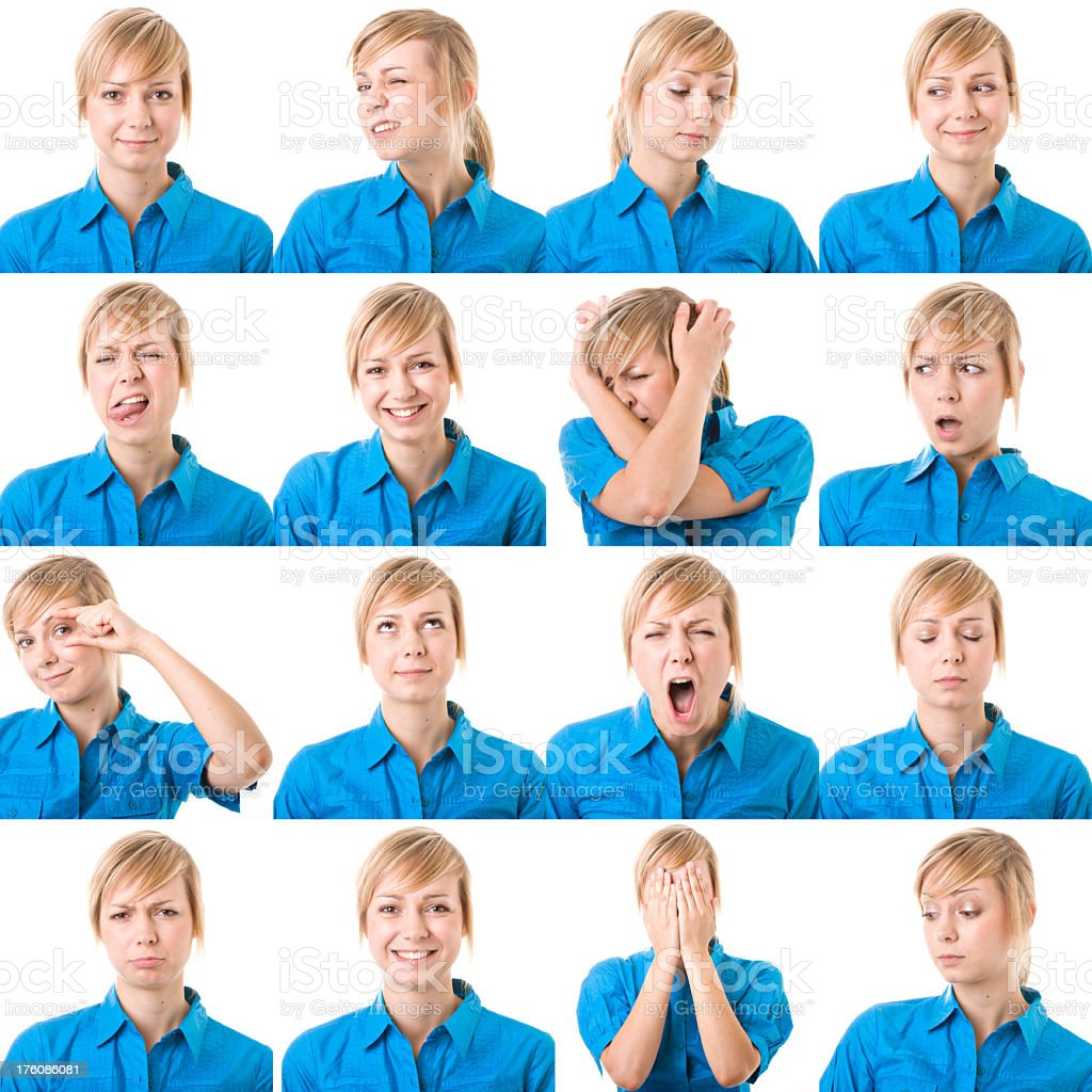 Pretty girl with different emotions stock photo