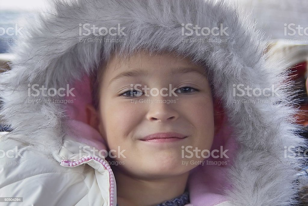 Pretty girl with fur royalty-free stock photo