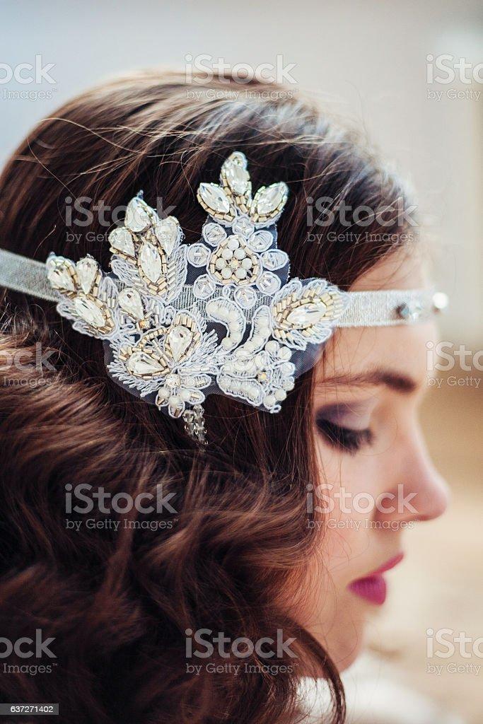 Pretty girl with handmade floral headband stock photo