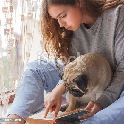 istock Pretty girl with her dog pug reading a book near window 1132429528