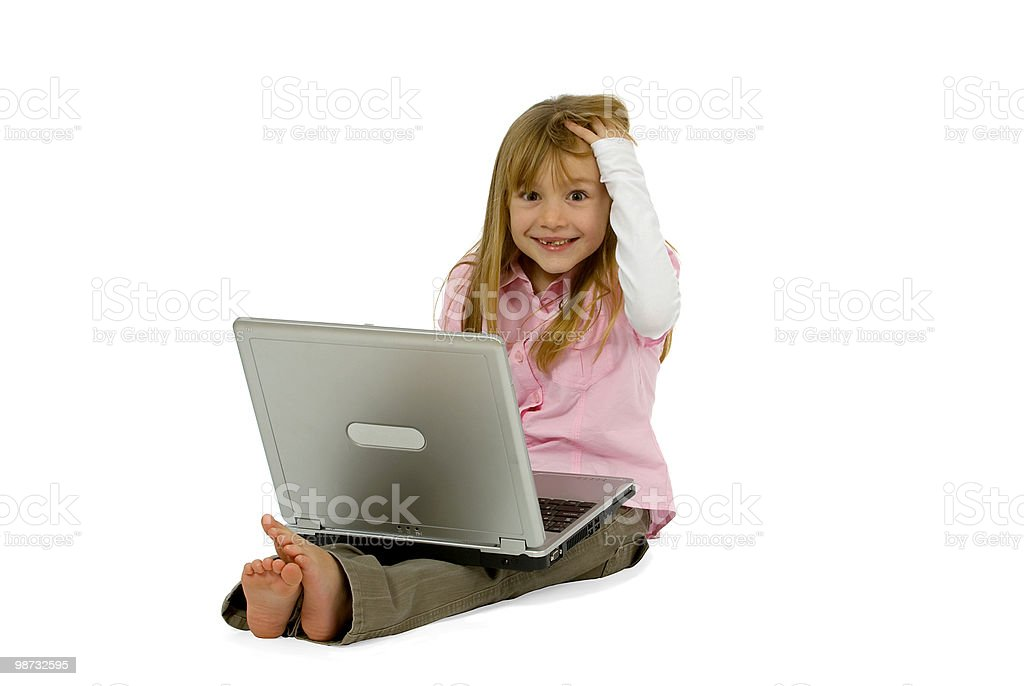 Pretty girl with laptop smiling into camera isolated on white 免版稅 stock photo