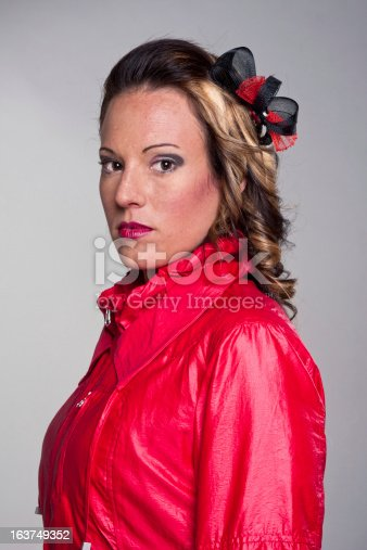 istock Pretty girl with red jacket. 163749352