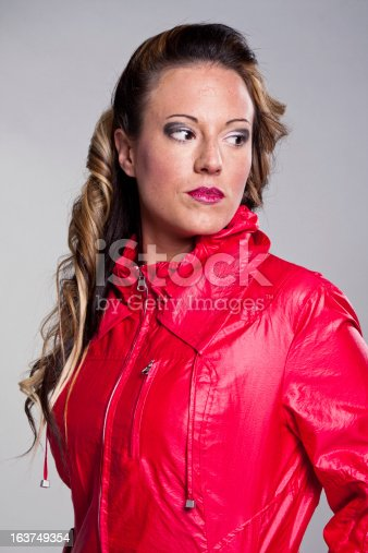 istock Pretty girl with red jacket. 163749354